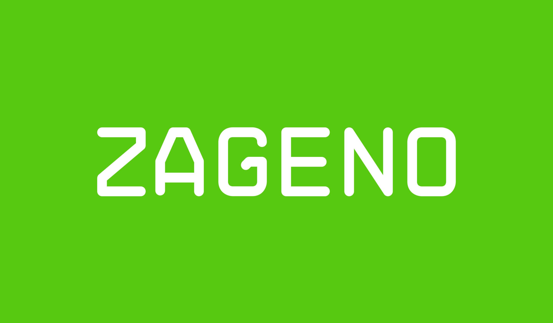 ZAGENO Logo on green background.