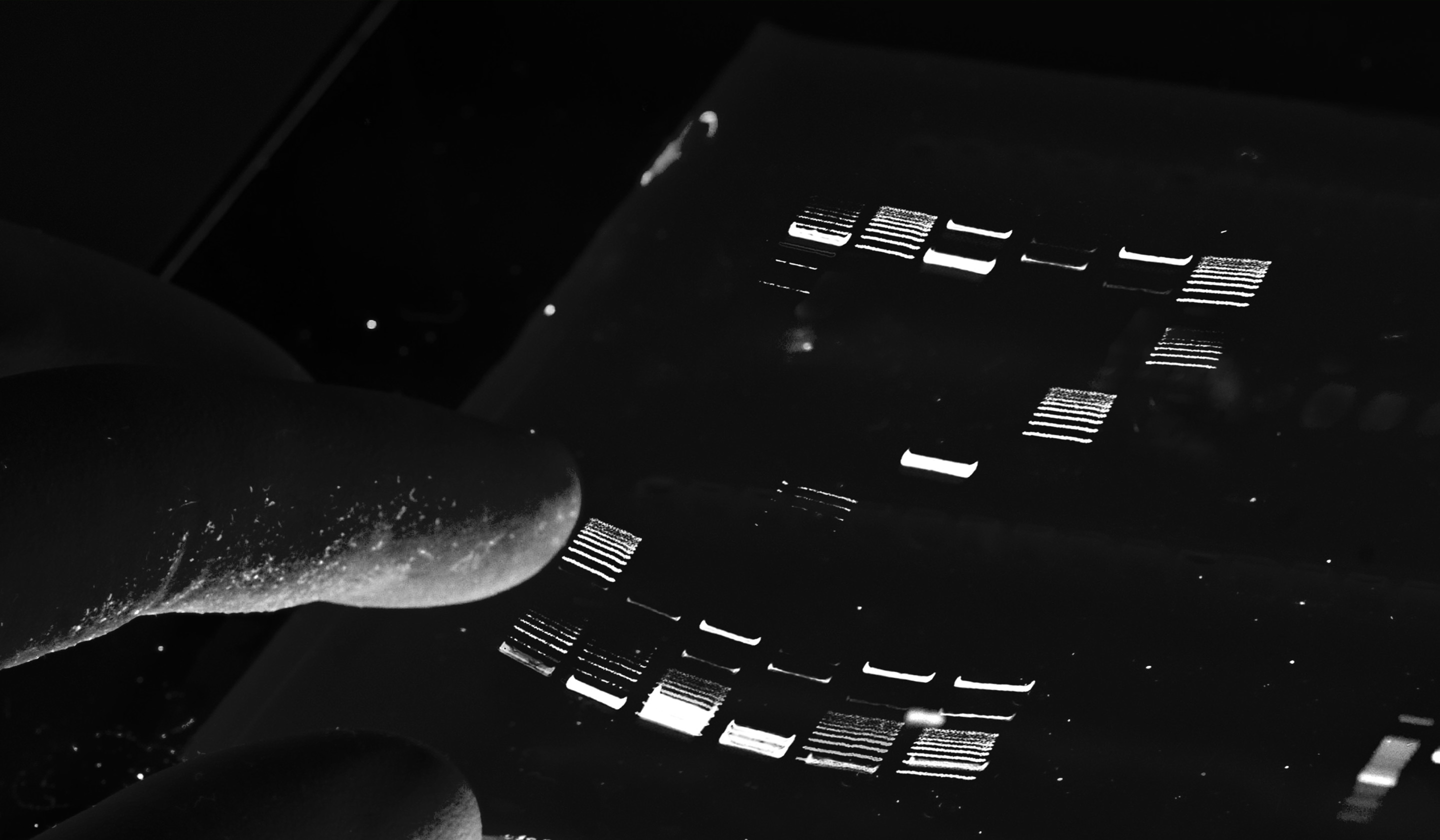 Scientist in lab pointing his finger on a Agarose Gel Electrophoresis showing the ZAGENO Z Logo.