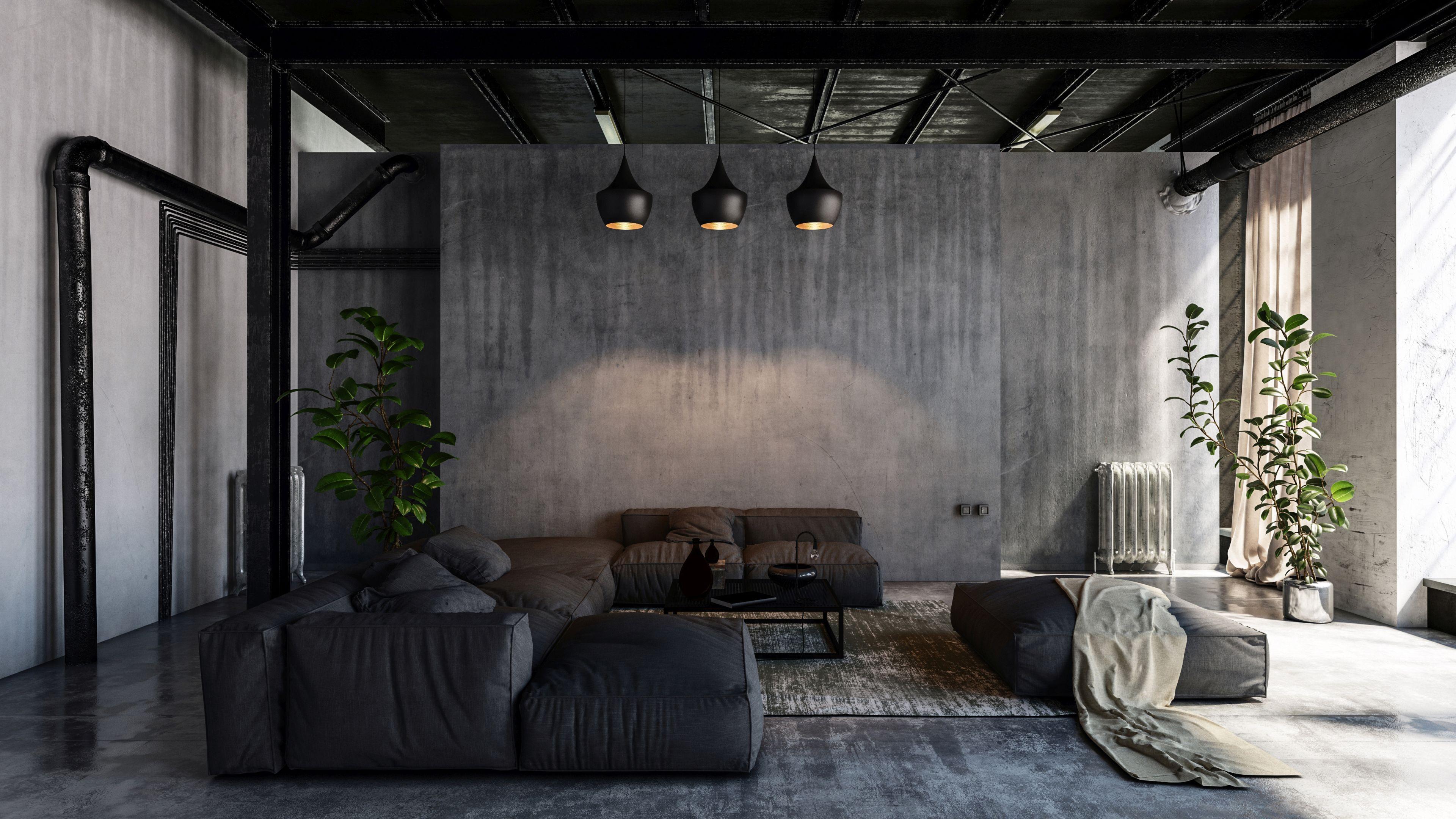 ciemne wnętrze z betonem architektonicznym i wieloma teksturami