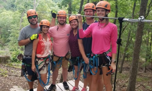 Group Zipping at Shepherd of the Hills Zipline Canopy Tours