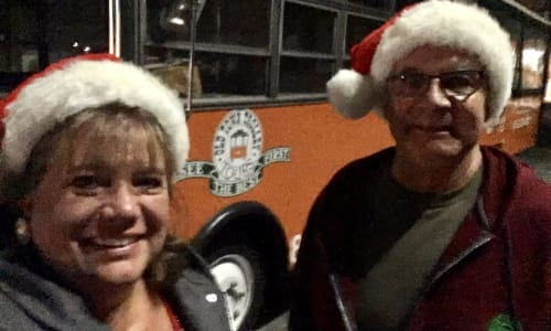 Selfie on the Old Town Trolley's Holiday Lights Tour