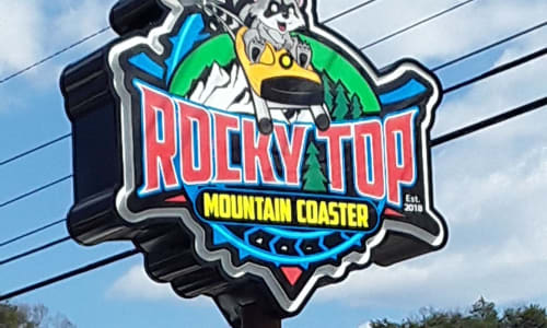 Sign for the Rocky Top Mountain Coaster Pigeon Forge