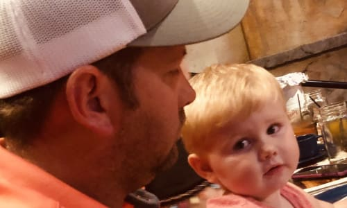 Father and Young Toddler at Pirates Voyage Dinner and Show Pigeon Forge