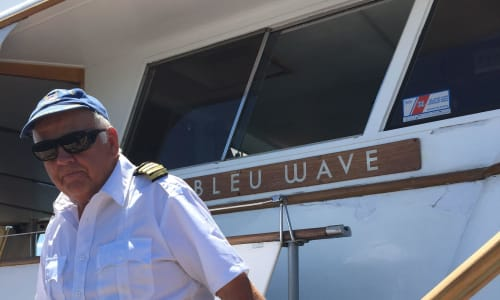 Captain on the Bleau Wave with the Lake Tahoe Sightseeing and Lunch Cruises Aboard the Bleu Wave