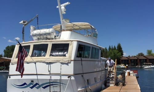 Back of the Bleu Wave with the Lake Tahoe Sightseeing and Lunch Cruises Aboard the Bleu Wave