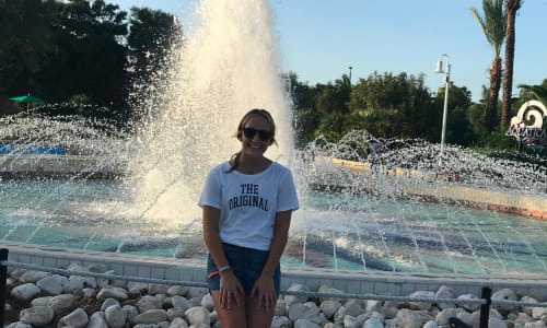 In Front of the Fountain at SeaWorld San Antonio