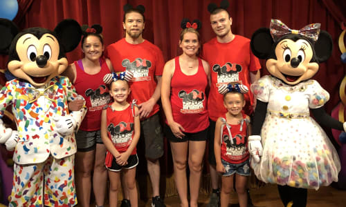 Family Pic with Micky and Minnie at Walt Disney World Theme Parks