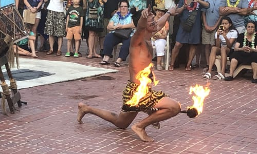 Performer at the Polynesian Luau and Fire Dinner Show at St Johns Inn