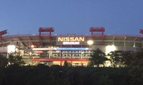 Nissan Stadium near the Willie Nelson and Friends Museum and General Store