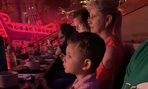 Young Boy Watching the Pirates Voyage Dinner and Show