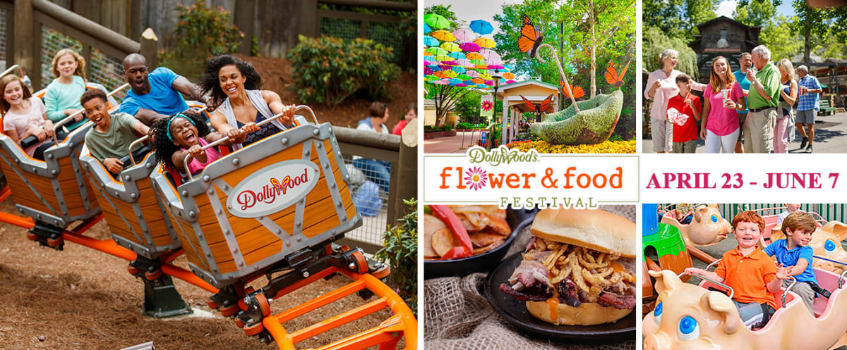 Dollywood Theme Park Tennessee Flower & Food Festival Collage