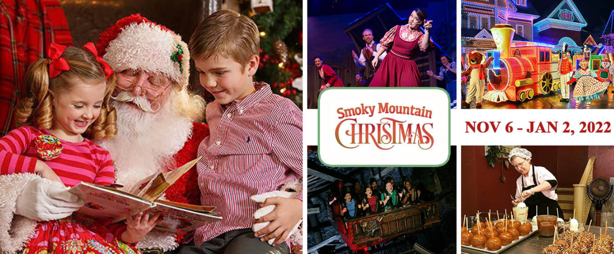 Smoky Mountain Christmas Collage Dollywood Theme Park Tennessee