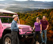 Group on the Foothills Parkway Smoky Mountains 3 Hour Pink Jeep Tour