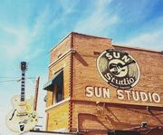 Outside of Sun Studio on the Sun Studio Guided Tour