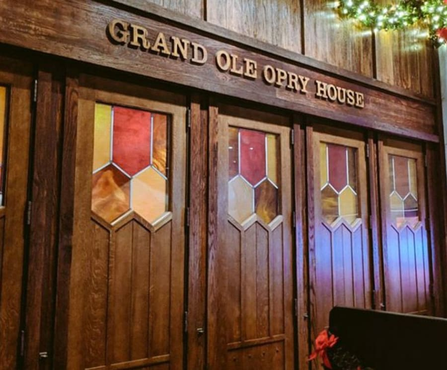 Sign for the Grand Ole Opry House on the Grand Legends Bus Tour
