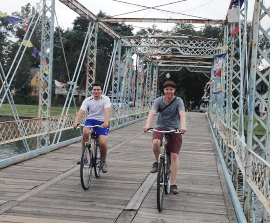 Crossing a Bridge on the New Orleans City Bike Tour