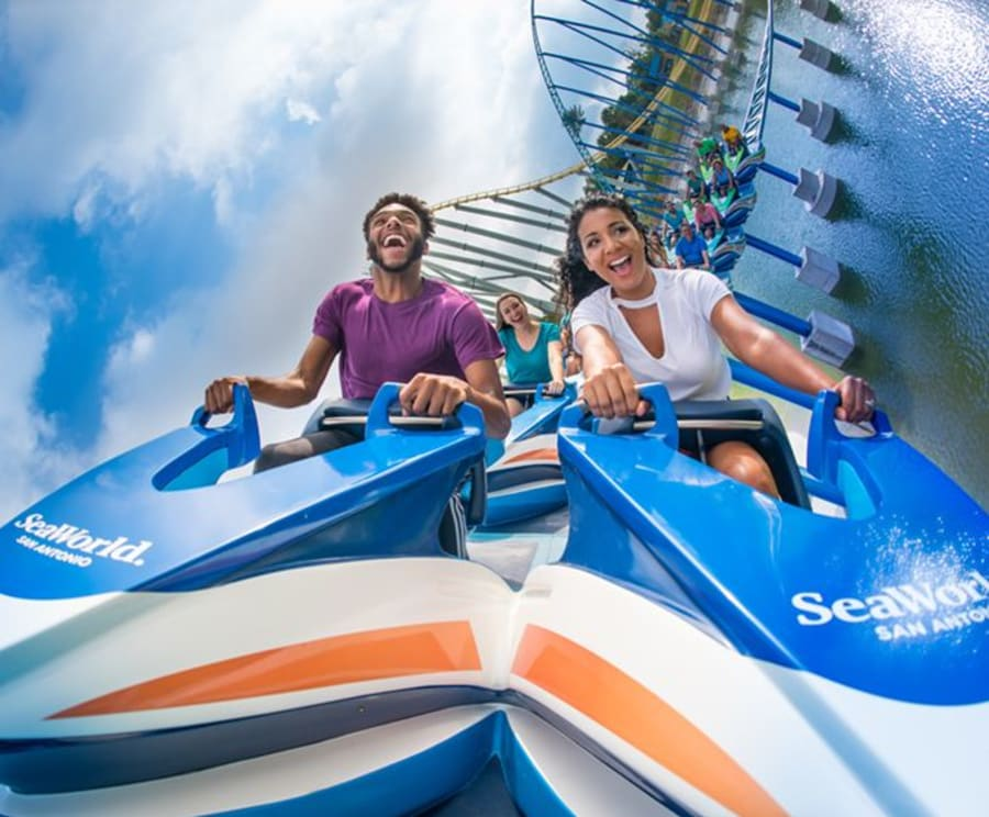 Couple on Rollercoaster at SeaWorld San Antonio
