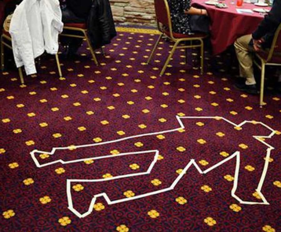 Chalk Outline at The Dinner Detective Murder Mystery Dinner Show Tampa Bay