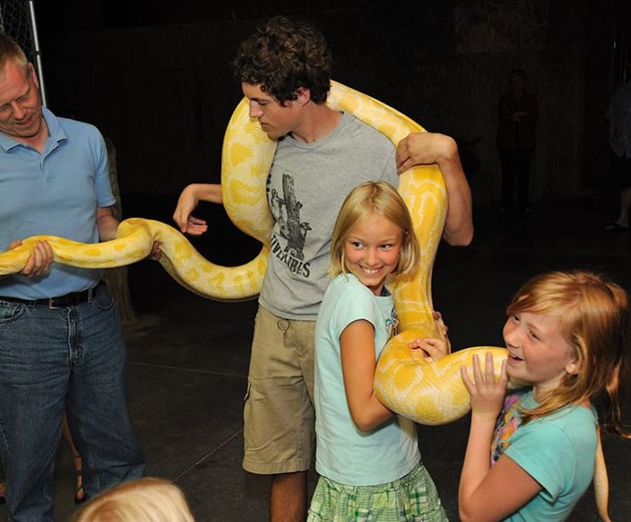 Holding a Python at the RainForest Adventures Discovery Zoo