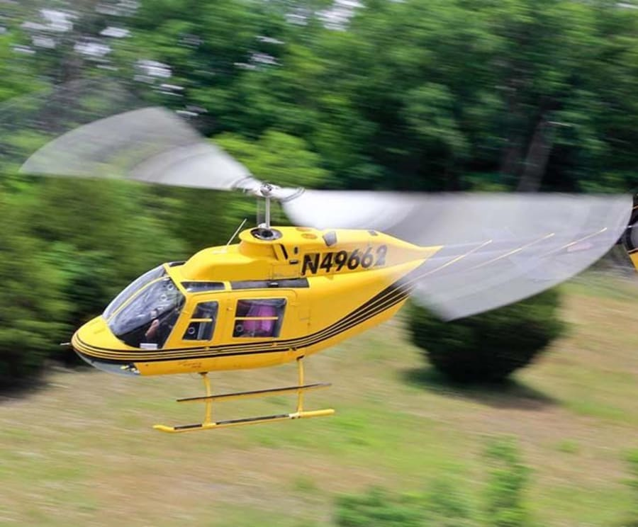 Yellow Helicopter on the Great Smoky Mountains Helicopter Tours