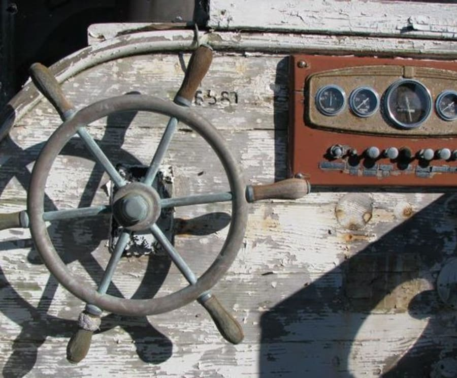 Old Wheel at the Great Lakes Shipwreck Museum & Whitefish Point Light Station