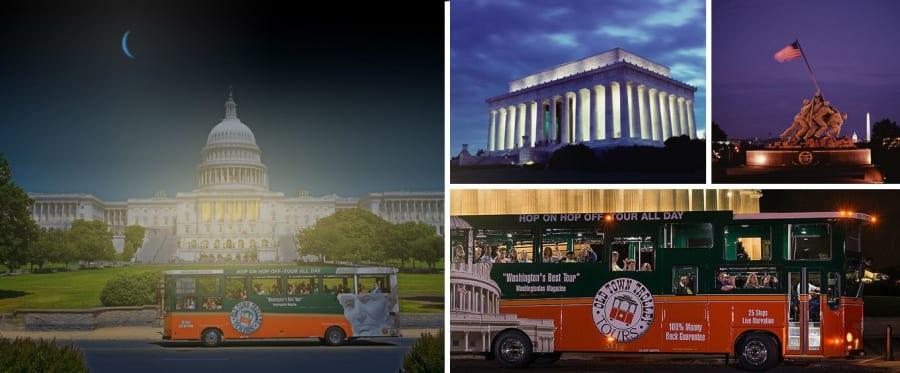 See Incredible Monuments with Monuments by Moonlight Trolley Tour