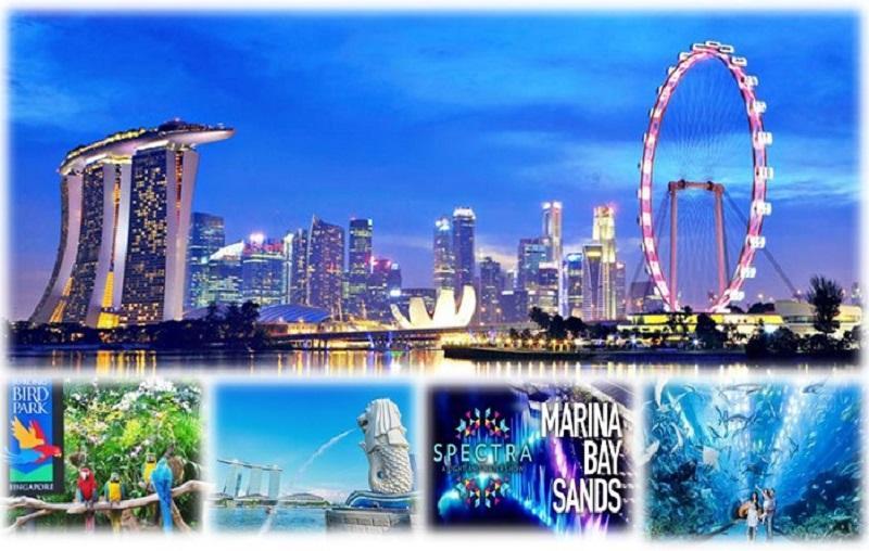 SINGAPORE - VƯỜN CHIM JURONG - CÔNG VIÊN SƯ TỬ BIỂN - GARDENS BY THE BAY - SPECTRA SHOW
