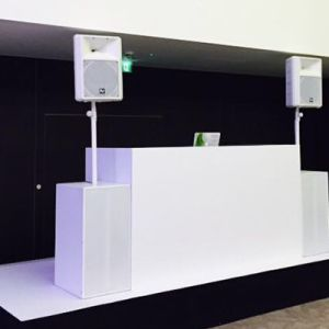 stage white pa hire hilton bankside