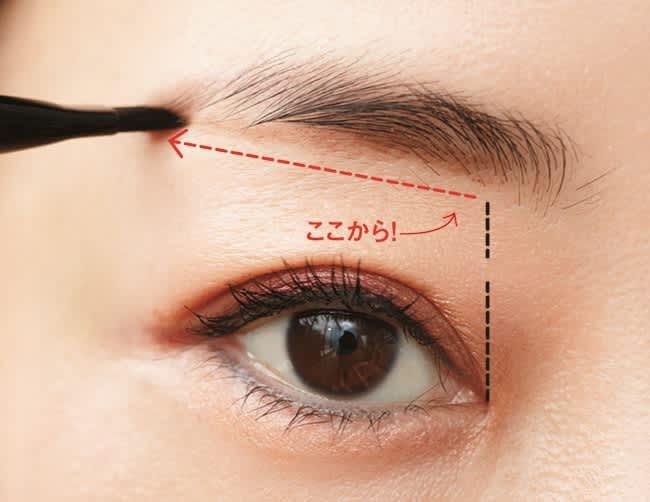 眉下のアウトラインを、目頭の延長線上から眉尻に向かってまっすぐ引く