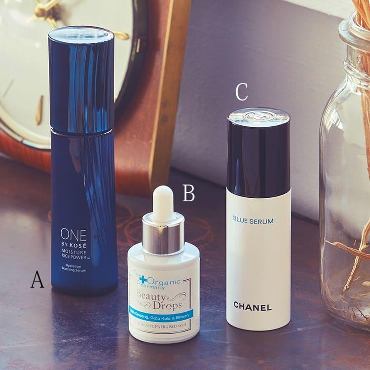ONE BY KOSÉ 薬用保湿美容液,コーセー,オーガニックファーマシー ビューティードロップ,セレンディプス,ブルー セラム,シャネル,