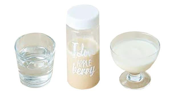 ケイ素を入れた水、ソイプロテイン、自家製の甘酒ヨーグルト