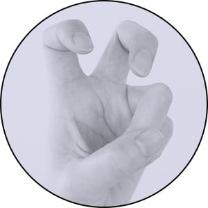 ハサミ手で