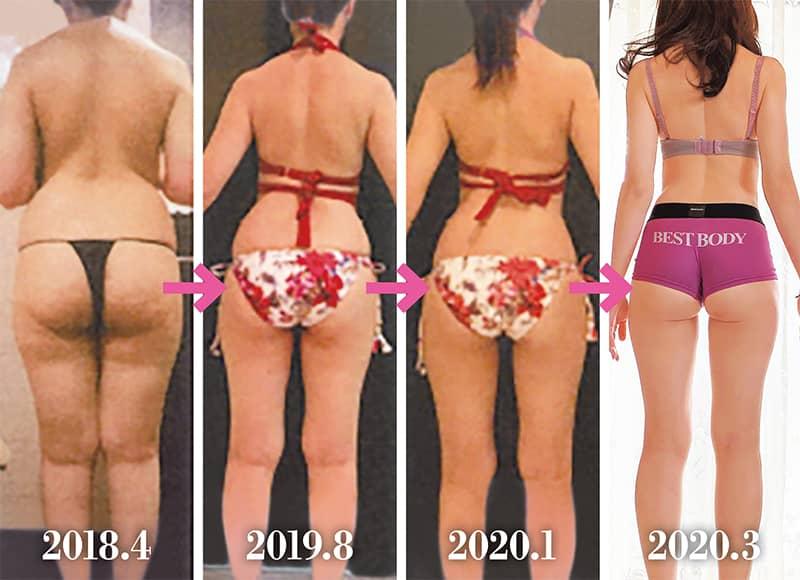 【BEFORE】体脂肪率40%・64kg→【AFTER】体脂肪率24%・48kg/2018.4/2019.8/2020.1/2020.3