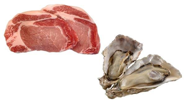 【亜鉛】赤身肉やホルモンなど カキなどの魚介類