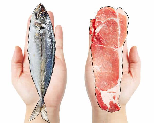 【タンパク質】1食につき手のひら1枚分の肉や魚