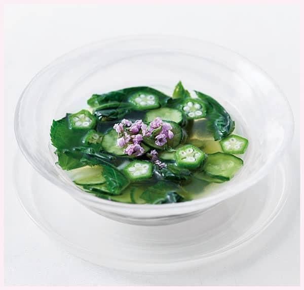 きゅうりとモロヘイヤの冷スープ