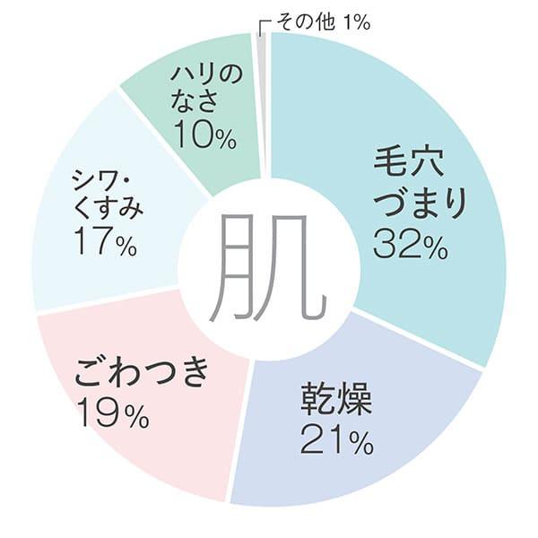 【肌】毛穴づまり32%/乾燥21%/ごわつき19%/シワ・くすみ17%/ハリのなさ10%/その他1%