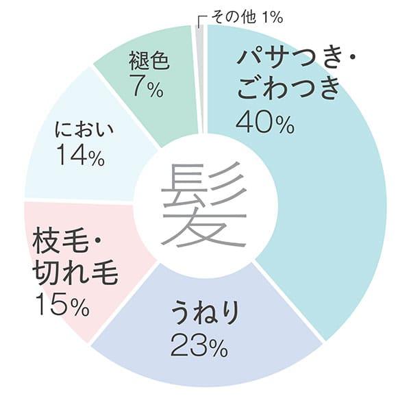 【髪】パサつき・ごわつき40%/うねり23%/枝毛・切れ毛15%/におい14%/褪色7%/その他1%
