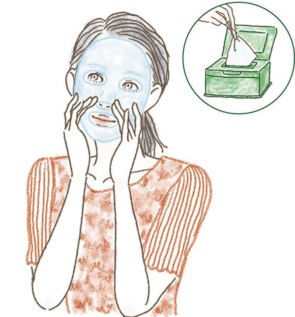 イラスト/マスクをピンセットで取り出し、顔全体に密着させる