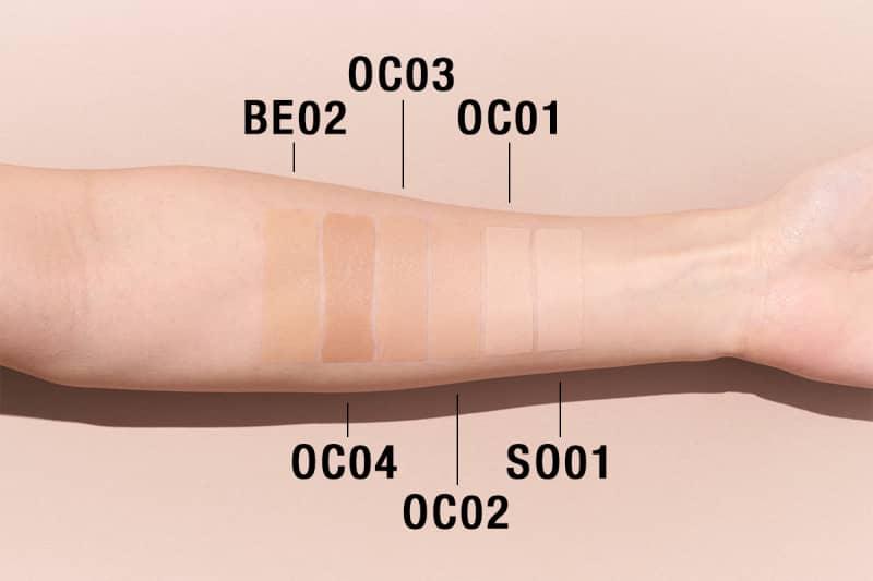 全色スウォッチ 右から、SO01、OC01、OC02、OC03、OC04、BE02