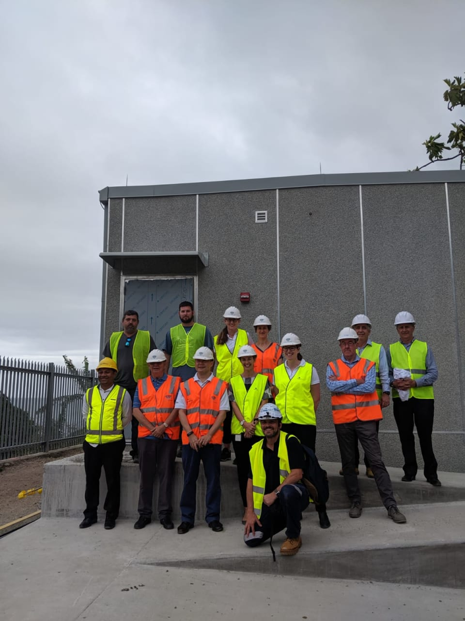 Coral Sea Cable project team visiting the installed PNG CLS in Port Moresby on 31 July 2019 (Credit: DFAT).