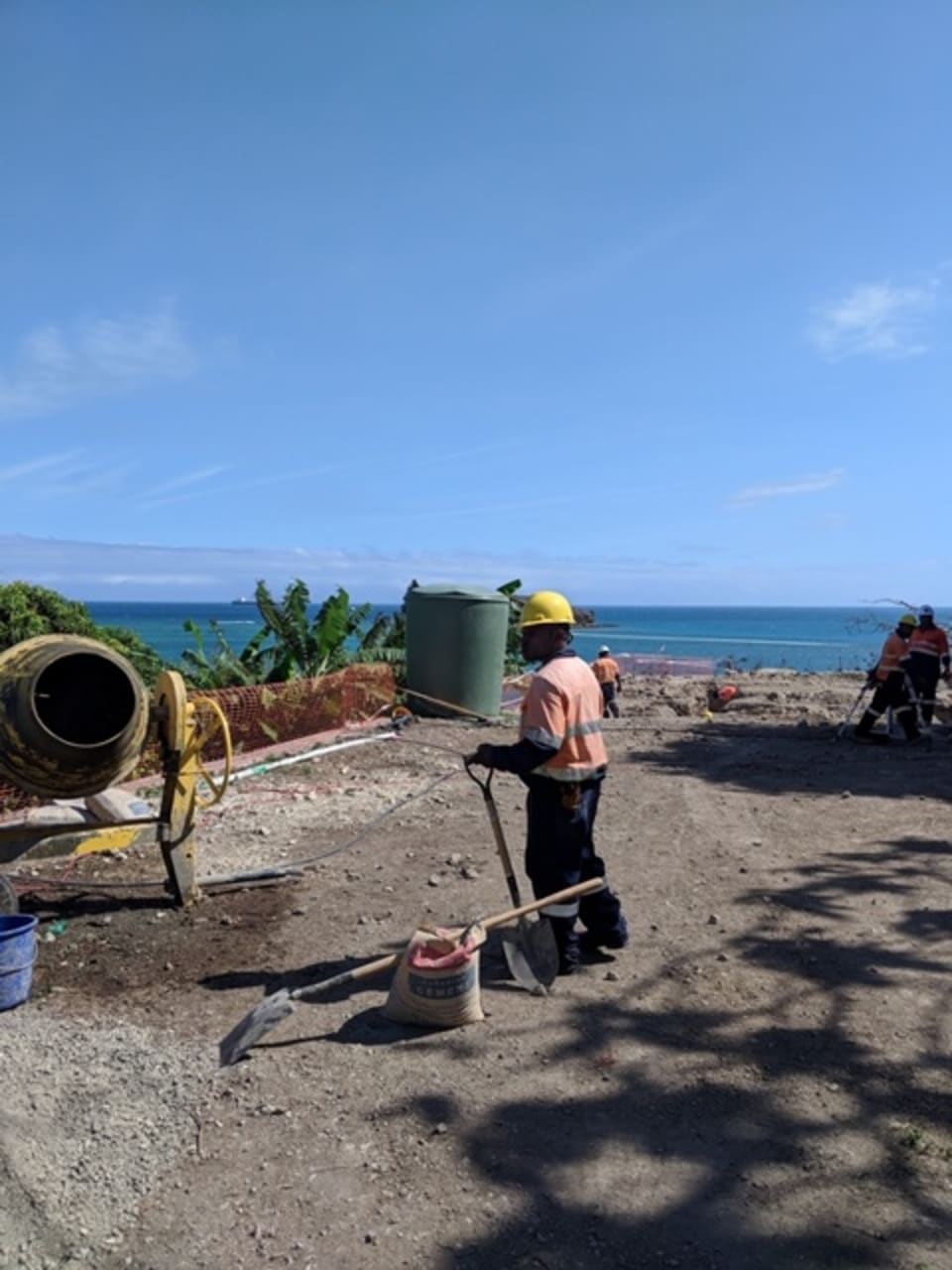 Coral Sea Cable project team visiting the PNG CLS site in Port Moresby one year earlier on 31 July 2018 (Credit: DFAT).