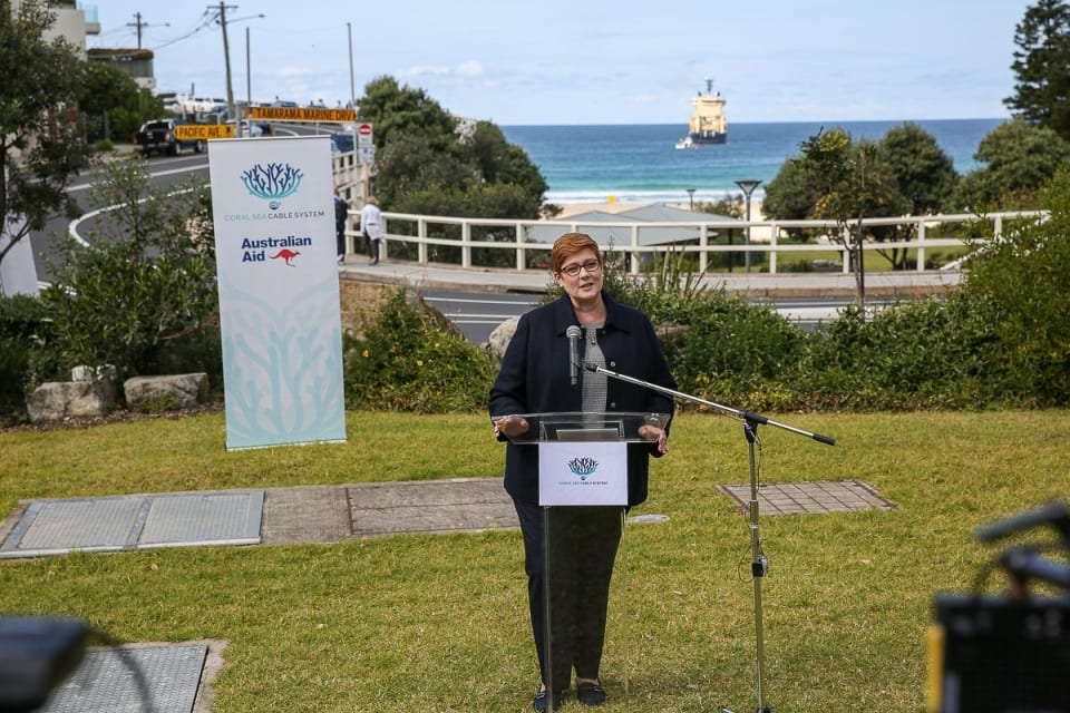 Senator Hon Marise Payne Minister for Foreign Affairs and Minister for Women addressing audience (Credit: DFAT/ Peter Morris – Sydney Heads)