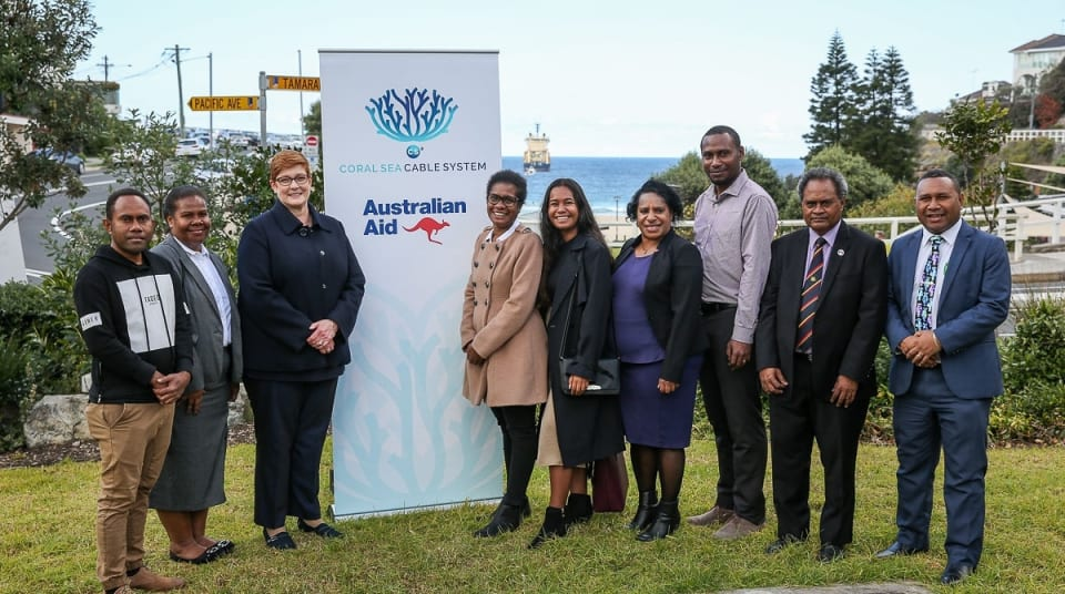 Senator Hon Marise Payne Minister for Foreign Affairs and Minister for Women with Solomon Islander and Papua New Guinean Australian Award Recipients (Credit: DFAT/ Peter Morris – Sydney Heads)