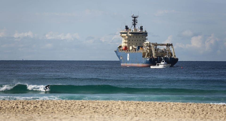Ile de Brehat landing the Coral Sea Cable System under Tamarama Beach (Credit: DFAT/ Peter Morris – Sydney Heads)