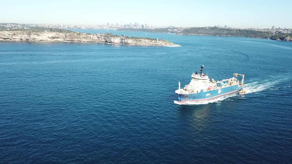 The cable-laying ship, Ile de Brehat, departing from a port call in White Bay Balmain. (Credit: ASN)