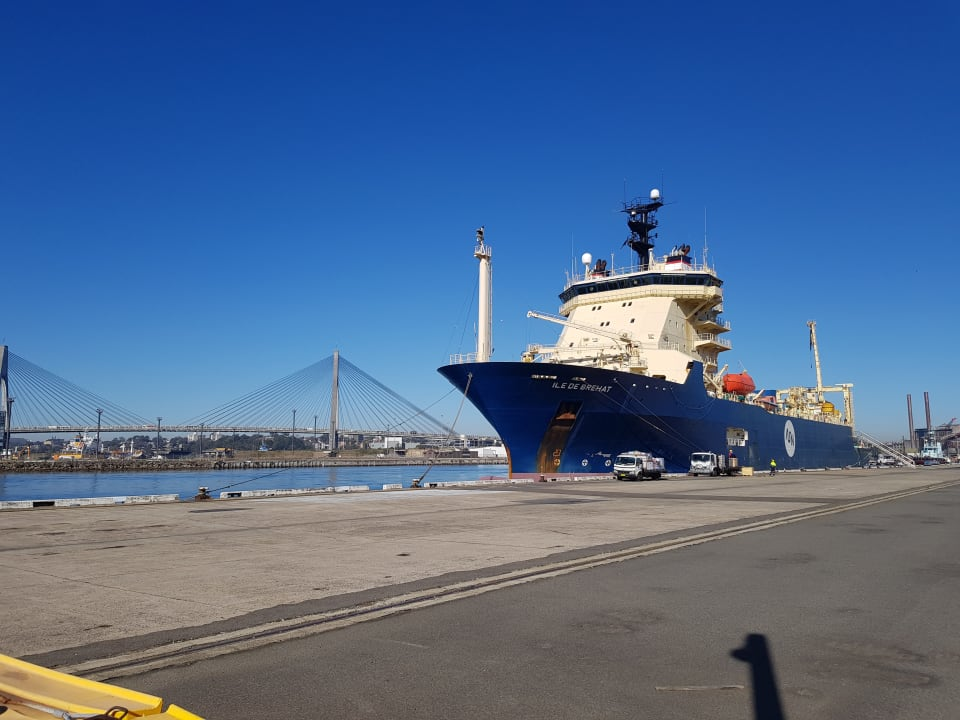 The cable-laying ship, Ile de Brehat, which has laid the cable from Port Moresby and Honiara, made a port call at White Bay Balmain on 14 August 2019. (Credit: Vocus)