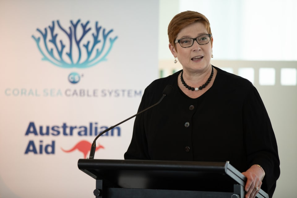 Senator Hon Marise Payne, Australia's Minister for Foreign Affairs and Minister for Women, speaking at the Coral Sea Cable photo exhibition at Parliament House, to mark the completion of the project. (Credit: Nathan Fulton/DFAT)