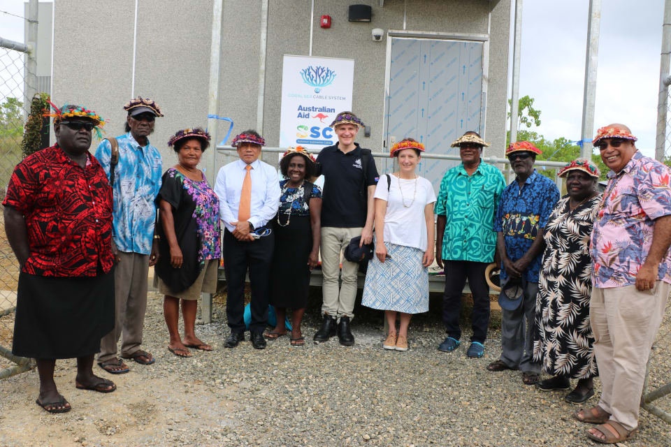 Senior landowners, Solomon Islands Government and Australian Government representatives at the Noro Cable Landing Station Opening, 31 October 2019 (Credit: DFAT)