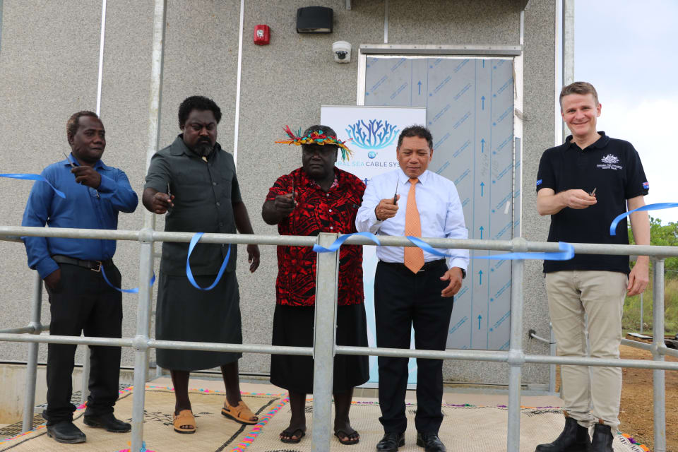 Opening the Noro Cable Landing Station, 31 October 2019. From the left: Mr Chris Hapa – Chair of the Solomon Islands Submarine Cable Company, the Hon. Silas Tausinga – National MP for West New Georgia, Premier David Gina – Western Province, the Hon. Shanel Agovaka – Minister for Communications and Aviation, Mr Roderick Brazier - Australian High Commissioner.  (Credit: DFAT)